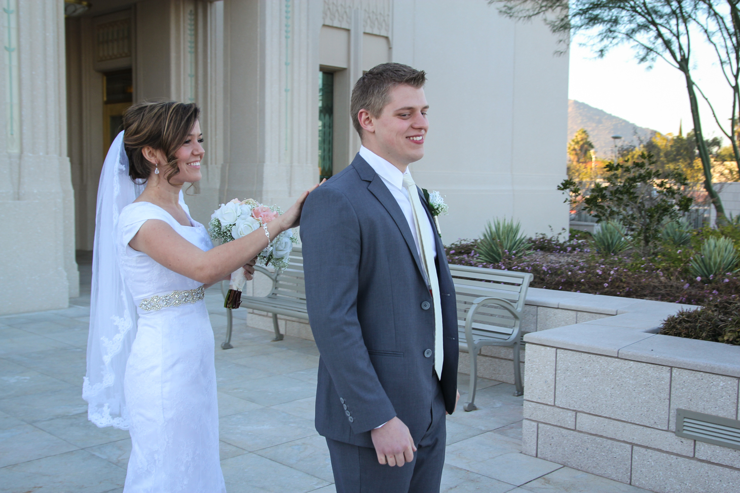 Bride and groom seeing each other at Phoenix Temple Wedding